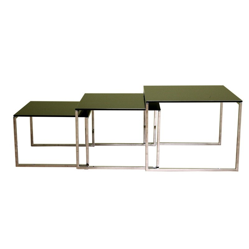 Nara glass top nesting table for Glass top nesting tables