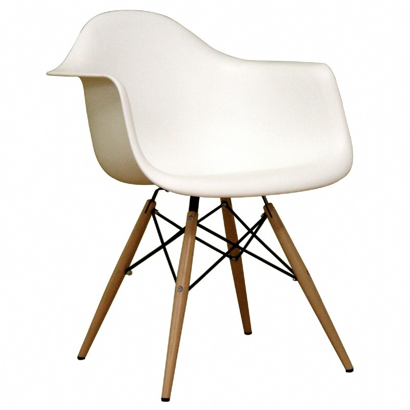 Pascal White Plastic Contemporary Accent Chair