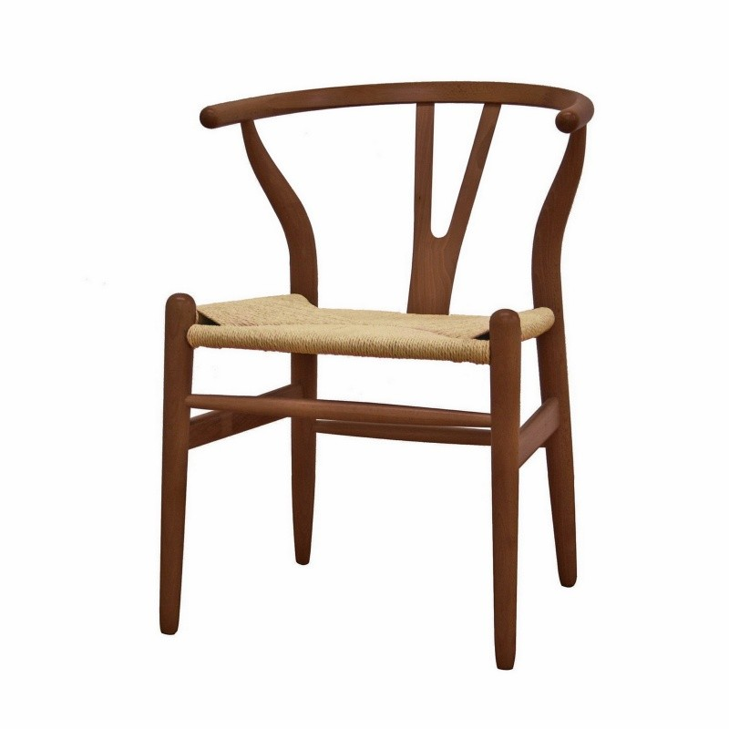 Wishbone dark wood accent dining chair for Wishbone chair table