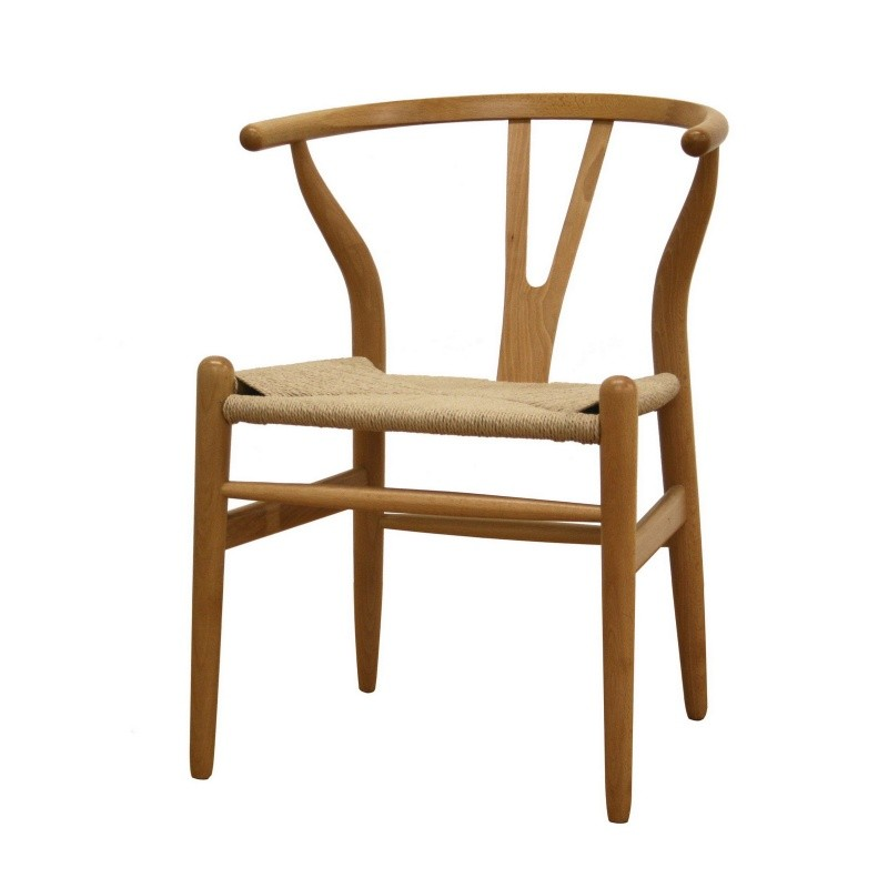 Natural Wood Dining Chairs ~ Wishbone natural wood accent dining chair