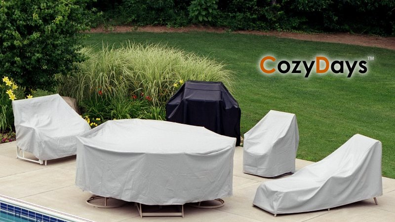72 to 76 inch Rectangle Table with Umbrella and 6 HB Chairs Patio Set Cover