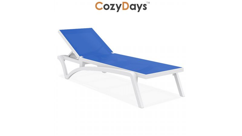 Pacific Stacking Sling Chaise Lounge White Blue Isp089 Whi Blu Cozydays