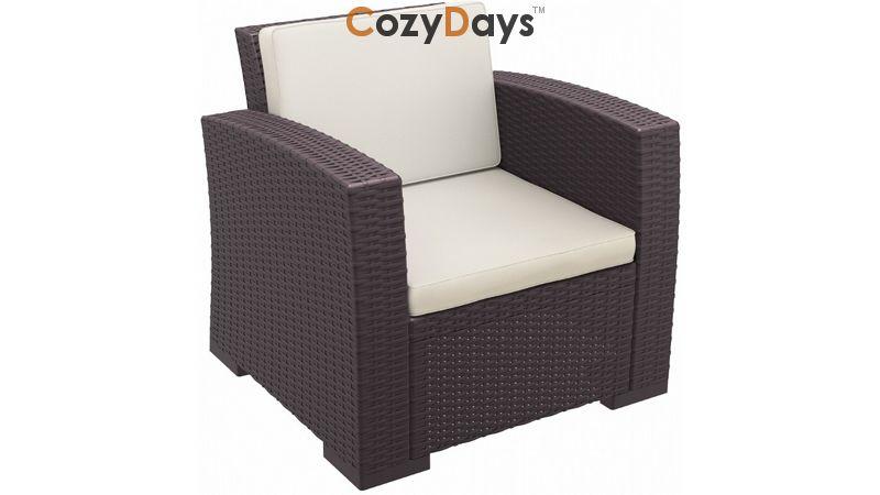 Monaco Wickerlook Resin Patio Club Chair Brown With Cushion Isp831