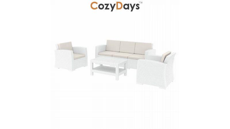 Monaco Wickerlook 4 Piece Xl Sofa Deep Seating Set White With Cushion
